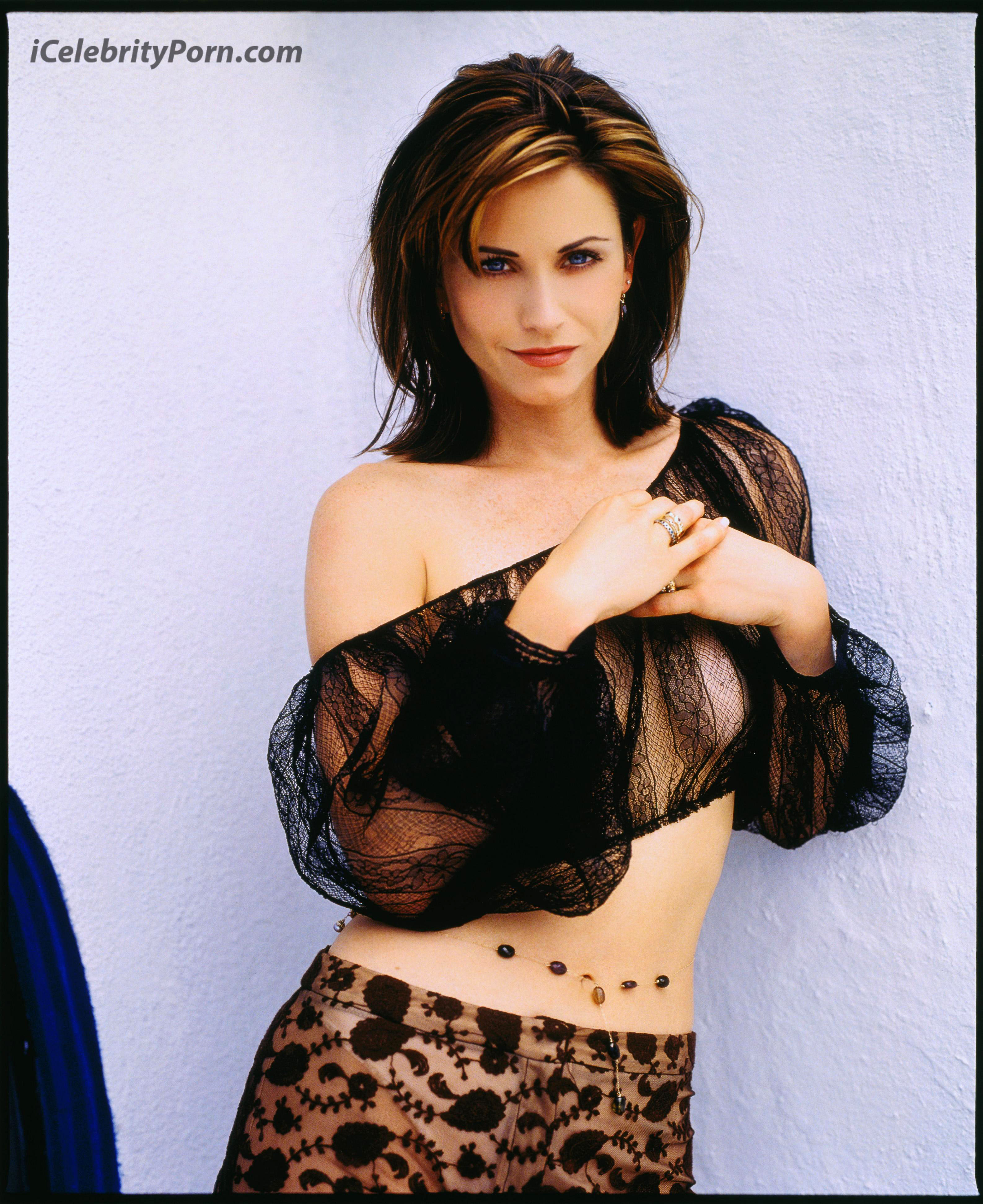 01 Jul 1996 --- Courteney Cox Wearing Sheer Top and Pants --- Image by © Mark Seliger/CORBIS OUTLINE